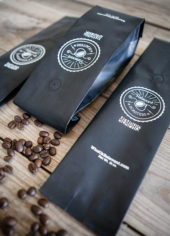 Relevant Roasters Logo & Coffee Packaging